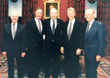 Senator Jesse Helms pictured with Presidents Jimmy Carter, George H.W. Bush, Bill Clinton and Gerald Ford
